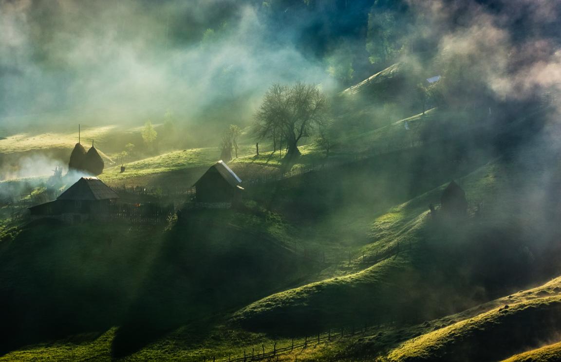 aldeia, village, sol, sun